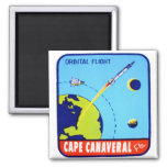 Kitsch Vintage Retro Space Cape Canaveral Decal Square Magnet
