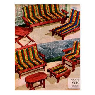 Kitsch Vintage Retro Suburbs Patio Furniture Postcard