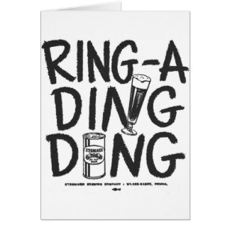 Kitsch Vintage Ring-a-Ding Ding Beer Time Ad Greeting Card