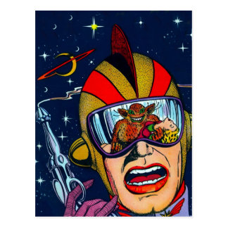 Kitsch Vintage Sci-Fi Space Ranger Shooter Postcard