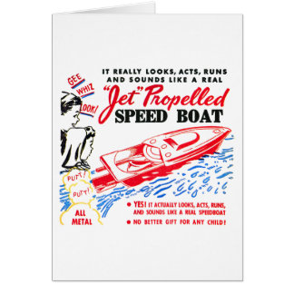 Kitsch Vintage Toy Ad 'Jet Propelled Speed Boat' Greeting Card
