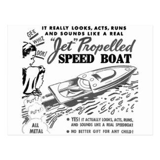 Kitsch Vintage Toy Ad 'Jet Propelled Speed Boat' Postcard