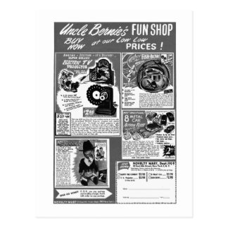 Kitsch Vintage Toy Ad  'Uncle Bernie's' Postcard