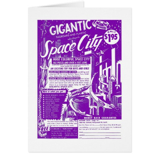 Kitsch Vintage Toy Gigantic Space City Greeting Cards