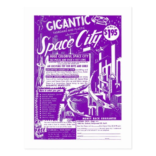 Kitsch Vintage Toy Gigantic Space City Post Card