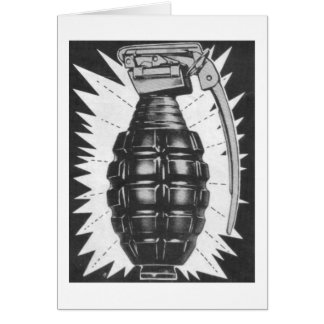 Kitsch Vintage Toy Hand Grenade Ad Art Greeting Card