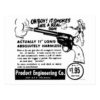 Kitsch Vintage Toy Pistol Ad Smoking Gun Postcard
