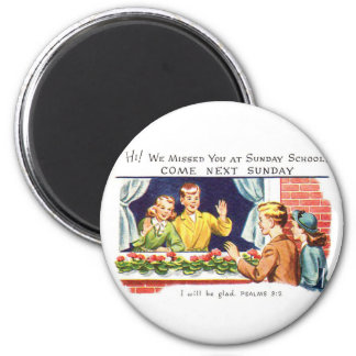 Kitsch Vintage We Missed You Sunday School 6 Cm Round Magnet