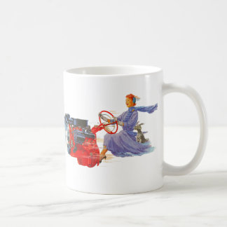 Kitsch Vintage Woman Driving The Engine Coffee Mugs