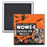 Kitsch Vintage Wowee Wax Gum Halloween Square Magnet