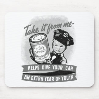 Kitssch Vintage Gas Service Station Kid Ad Mouse Pad