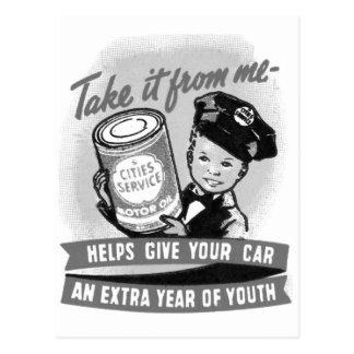 Kitssch Vintage Gas Service Station Kid Ad Postcard