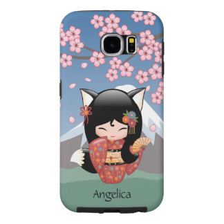 Kitsune Kokeshi Doll - Black Fox Geisha Girl Samsung Galaxy S6 Cases