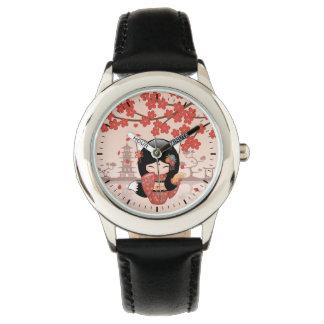 Kitsune Kokeshi Doll - Black Fox Geisha Girl Watch