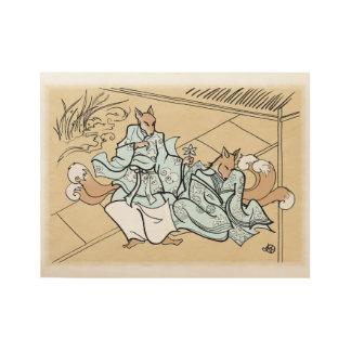 Kitsune Lovers Wood Poster