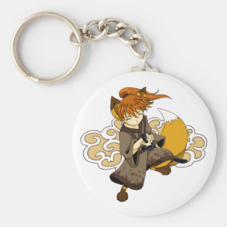 Kitsune Samurai Basic Round Button Key Ring
