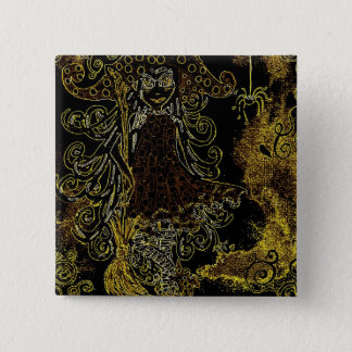 Kitsy the witch 15 cm square badge