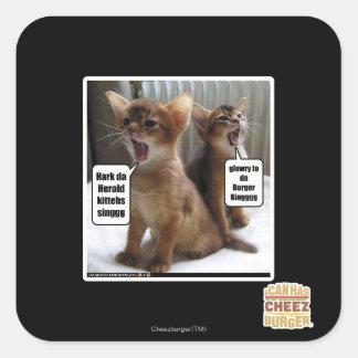 Kitteh carols square sticker