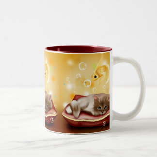 kitten-83661 CUTE ADORABLE KITTEN CAT GOLDFISH PET Coffee Mugs