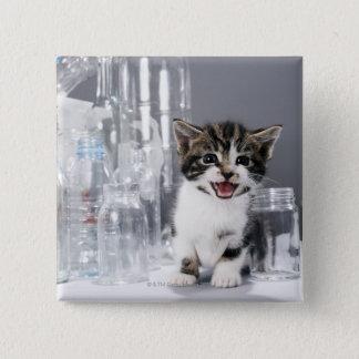 Kitten amongst recycled bottles and jars 15 cm square badge