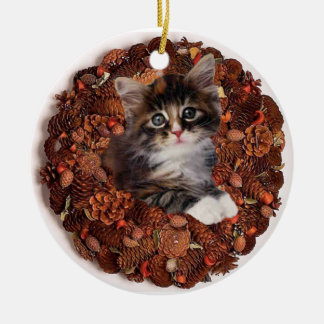 Kitten and a pinecone wreath christmas ornament