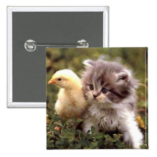 Kitten and Baby Chick 15 Cm Square Badge