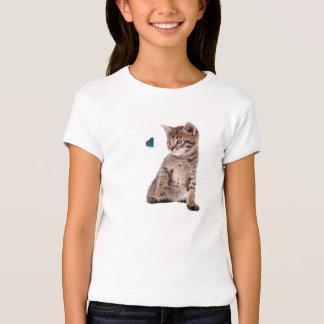 Kitten and Butterfly for Girls'-Bella-T-Shirt T-Shirt