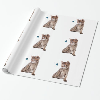 Kitten and Butterfly for Glossy-Wrapping-Paper Wrapping Paper
