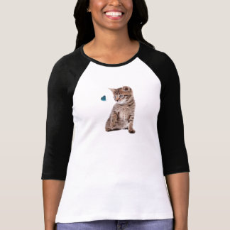 Kitten and Butterfly image for Women's-T-Shirt Tshirt