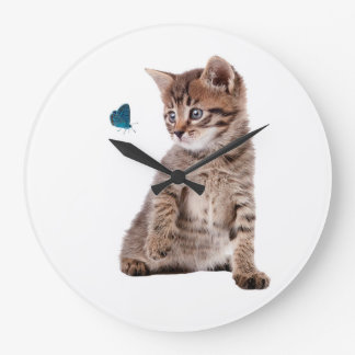Kitten and Butterfly image  Round-Large-Wall-Clock Clock