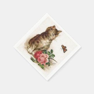 Kitten and Butterfly Paper Serviettes
