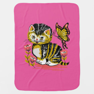 Kitten and Butterfly Pink Baby Blanket
