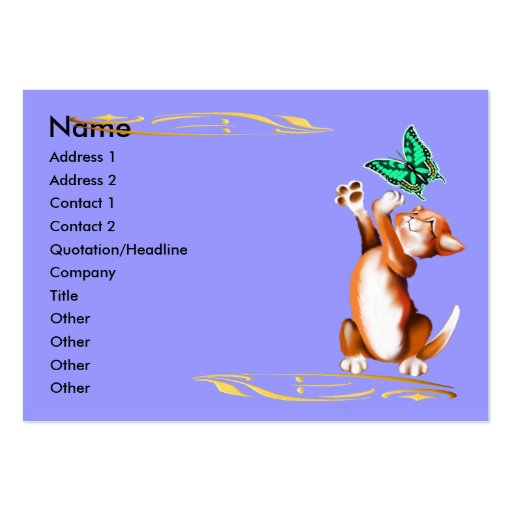 Kitten and Butterfly Profile Card Business Cards