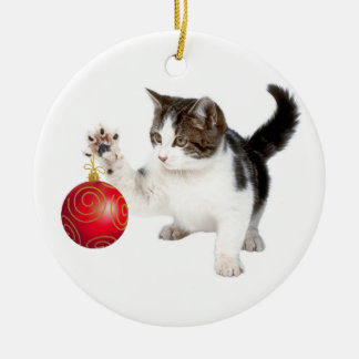 Kitten and Christmas ball Christmas Ornament