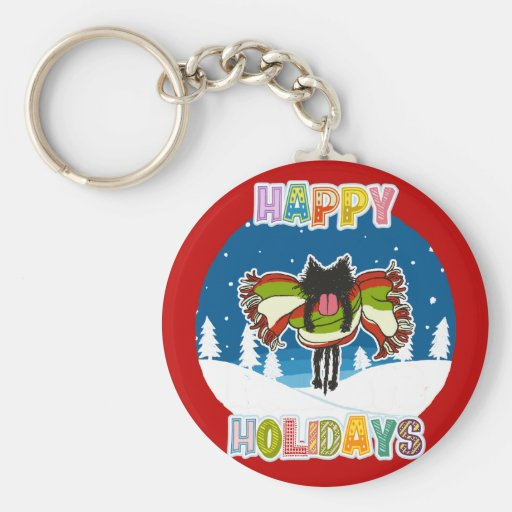 Kitten and Colorful Happy Holidays Keychains