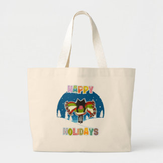 Kitten and Colorful Happy Holidays Large Tote Bag