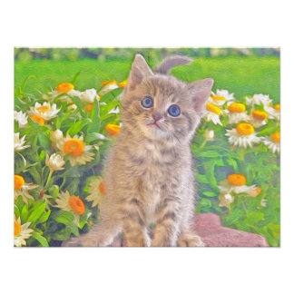 Kitten and Flowers Photographic Print