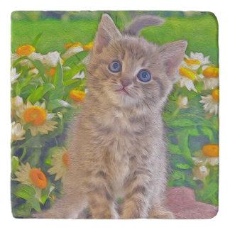 Kitten and Flowers Trivet