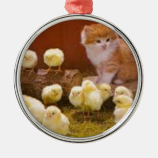Kitten and Fluffy Chicks Christmas Ornament