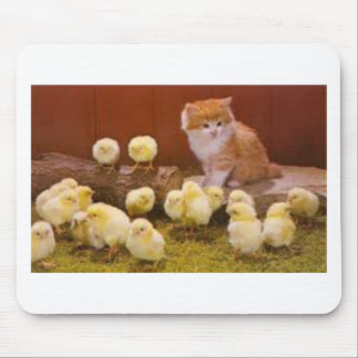 Kitten and Fluffy Chicks Mouse Pad