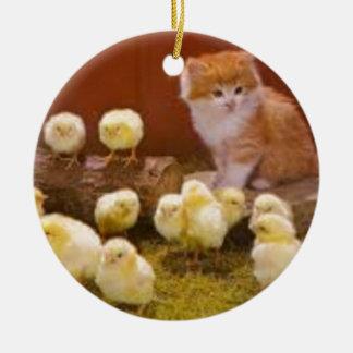 Kitten and Fluffy Chicks Round Ceramic Decoration