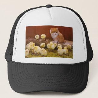 Kitten and Fluffy Chicks Trucker Hat