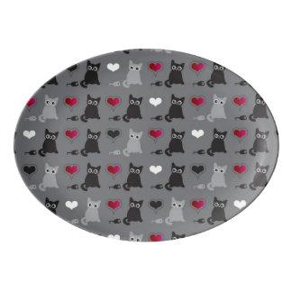 kitten and mice pattern porcelain serving platter