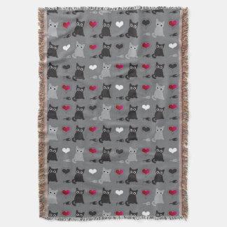 kitten and mice pattern throw blanket