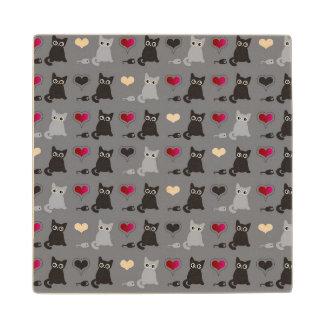 kitten and mice pattern wood coaster