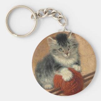 Kitten and muffler basic round button key ring