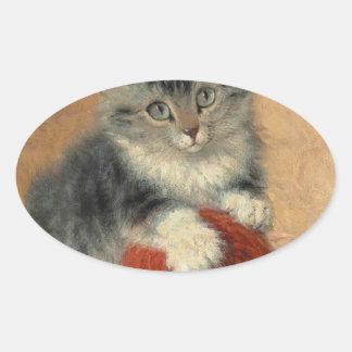 Kitten and muffler oval sticker