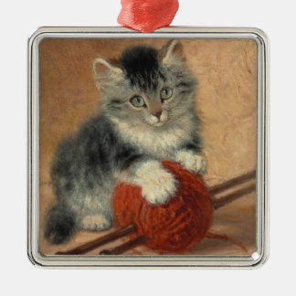 Kitten and muffler Silver-Colored square decoration