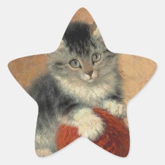 Kitten and muffler star sticker