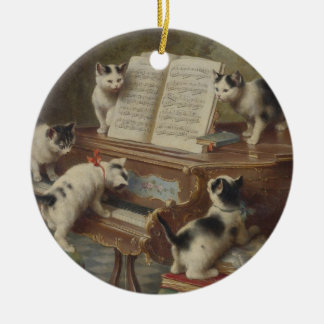 Kitten and piano christmas ornament